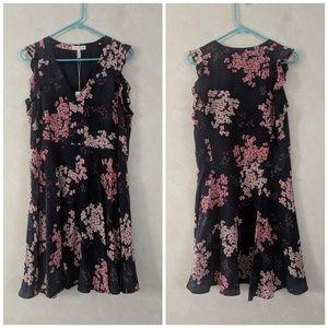 Rebecca Taylor Silk Navy Blue Floral Dress